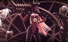 Картинка оружие, девушки, роботы, vocaloid, бантик, вокалоид, tri-oxygen luka, phosphorescent rin, carbon black miku
