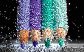 Картинка вода, пузырьки, жидкость, карандаши