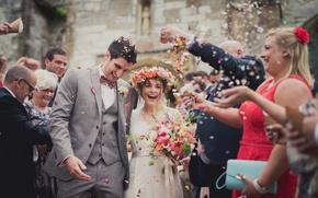 Картинка люди, праздник, невеста, свадьба, жених, гости