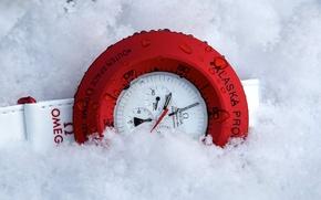Картинка red, white, Omega, snow, clock