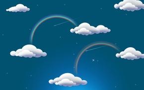 Обои облака, радуга, rainbow