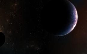 Обои звезды, пространство, планеты, спутники, nebula
