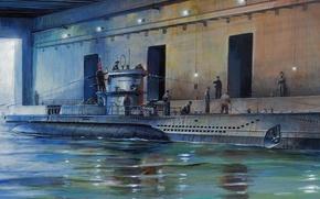 Картинка war, art, painting, ww2, submarinee, U-Boot