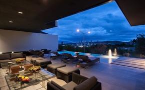 Картинка city, pool, evening, luxury, terrace