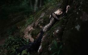 Картинка девушка, камень, платье, Tatiana Mercalova, Ольга Кобзар