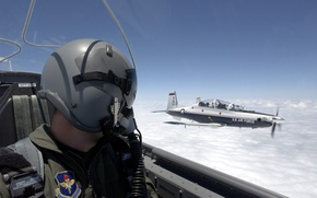 Обои кабина, шлем, обои, военный, пилот, лётчик, небо, авиация, самолёт, облака