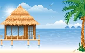 Картинка море, пальма, беседка, sea, gazebo, кокосы, palm, coconuts