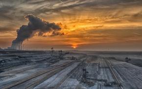Обои шахта, пейзаж, закат