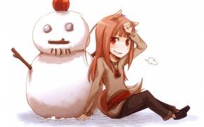 Картинка улыбка, яблоко, снеговик, spice and wolf, horo, волчица и пряности, by juu ayakura
