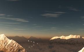 Картинка небо, облака, снег, птицы, Горы