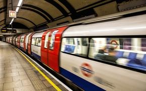 Обои метро, Лондон, поезд, платформа, подземка, London, Underground, platform, Tube Arrival