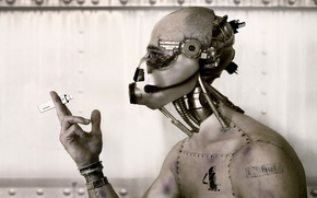 Картинка robot, usb, hand, iron, wire, head