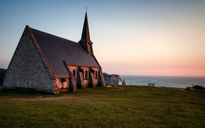 Картинка море, Франция, вечер, горизонт, Нормандия, Chapelle Notre-Dame de la Garde