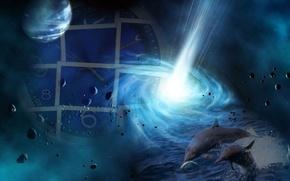 Картинка космос, фантастика, коллаж, планеты, часы, дельфины