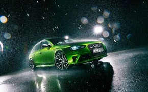 Картинка Audi, Light, Green, Rain, RS4, Avant, Jawa