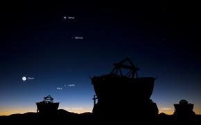 Обои небо, звезды, планеты, телескоп