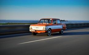 Картинка дорога, ретро, фон, скорость, СССР, автомобиль, ушастый, запорожец, Заз