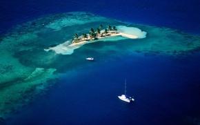 Картинка лодка, остров, Море