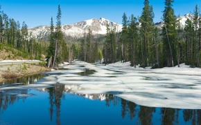 Картинка лед, небо, снег, деревья, горы, озеро