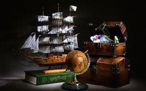 Картинка модель, парусник, словарь, сундук, путешествие, глобус