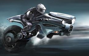 Картинка транспорт, фары, скорость, колесо, арт, шлем, мотоциклист