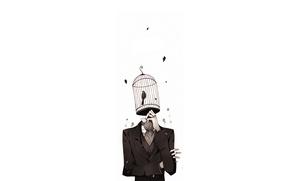 Картинка листья, птица, клетка, Человек, костюм, задумался
