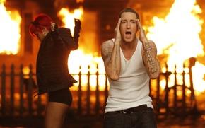 Картинка певица, rihanna, певец, Eminem