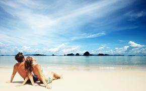 Картинка пляж, океан, отдых, женщина, отпуск, мужчина