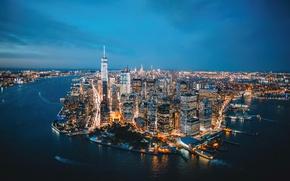 Картинка город, огни, вечер, США, Нью Йорк