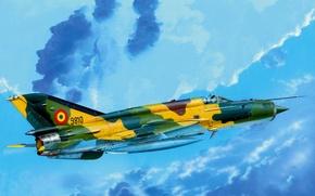 Картинка war, art, painting, aviation, jet, Mikoyan-Gurevich MiG-21