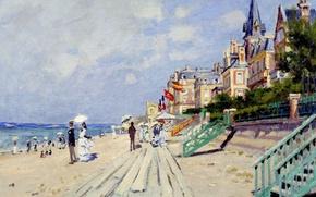 Обои променад, картина, Дощатый Настил в Трувиле, Клод Моне, пейзаж