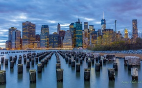 Обои New York, небоскребы, New York City, Манхэттен, Нью-Йорк, East River, город, Lower Manhattan, Ист-Ривер, вечер, ...