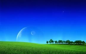 Обои поле, деревья, планета, спутник