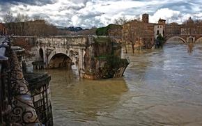 Картинка Италия, древний, старый, римский мост, потоки воды, руины, Рим, Тибр