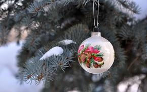 Картинка игрушка, Новый Год, ель, снег, праздники, зима, белый, елочная, New Year, Christmas, шар, рисунок, Рождество, ...