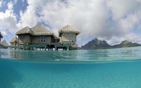 Картинка bungalow, blue lagoon, bora-bora, water villa, St-Regis
