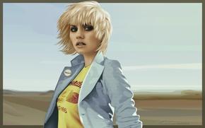 Обои Открытка, Блондинка, Elisha Cuthbert, Рисунок, Взгляд, Девушка