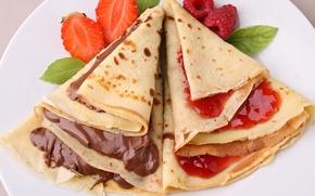 Картинка fruit, food, dessert, десерты, ягоды, berries, jam, варенье, сладкие, pancakes, chocolate, блины, sweet, фрукты, еда, ...