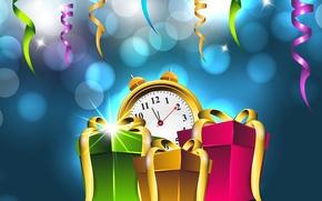 Картинка Happy New Year, Vector, Подарки