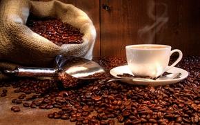 Обои мешок, Кофейные зерна, чашка