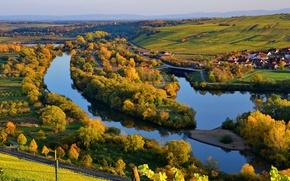 Картинка осень, природа, река, Германия, Бавария, Майн