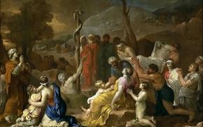 Картинка картина, жанровая, мифология, Медный Змей, Себастьян Бурдон, религия