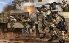 Картинка оружие, рисунок, арт, солдаты, экипировка, выстрелы, спецназ, освобождение, заложники