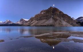 Картинка озеро, гора, Луна, Канада, Альберта, Bow Lake