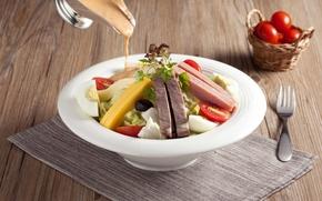Картинка яйца, сыр, мясо, помидоры, соус, салат, ветчина