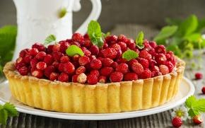 Картинка strawberry, cake, выпечка, земляника, berries, ягоды, pastries, mint leaves, листья мяты, пирог