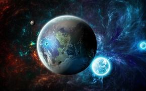 Картинка космос, огонь, планета, спутники
