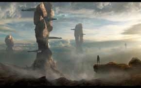 Картинка небо, пейзаж, фантастика, скалы, человек, планета, скафандр