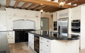 Картинка белое, холодильник, кухня, плита, шкаф, особняк, роскошь, Design, гарнитур, Interior, Kitchen