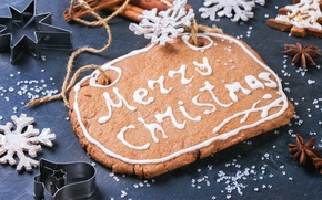 Картинка снежинки, печенье, Christmas, глазурь, пряник, decoration, Merry, Рождество. Новый Год